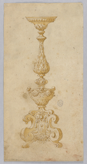 Design for a candelabra. Baluster form with acanthus leaf. Below, cherubs with swags. Scrolling base with coat-of-arms.