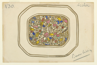 Hexagonal tray with wide rim edged with two gold bands.  In center, small-scaled, multi-colored, millefiore-like pattern.