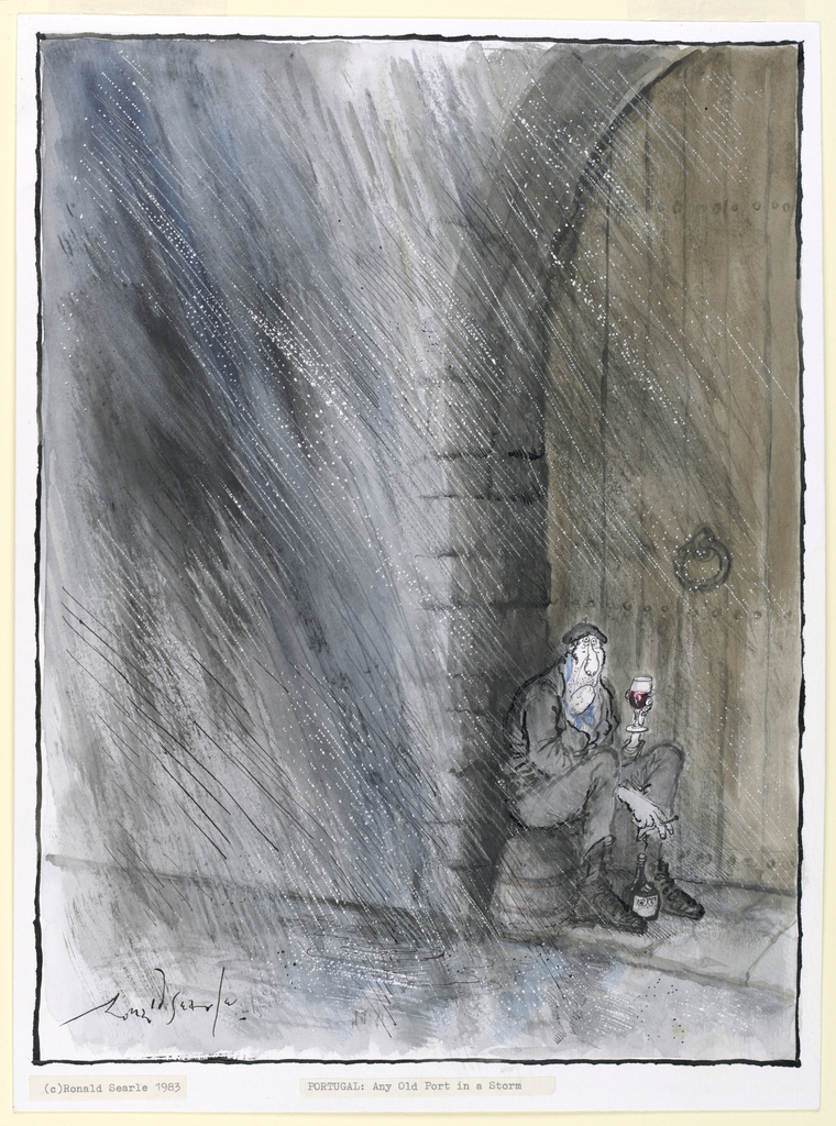 A figure sits on an upturned barrel, huddling under the arch of a doorway during a rainstorm, holding a glass of port in his left hand.  Between his feet is a bottle.