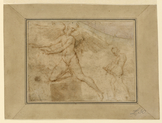 At left is cupid, kneeling with his right leg upon the bed, shown from the front.  His arms are extended toward the left, his head is turned toward the right.  At right, in a smaller scale, is the warrior, walking toward the left and drawing the sword.