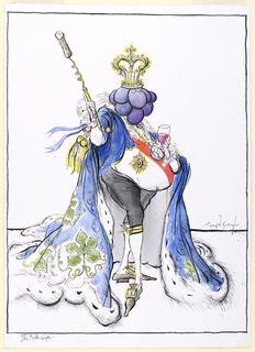 A pot-bellied figure stands contraposto, adorned in a blue cape with grape leaf decorations, with its right arm partially lifted, holding a scepter in the form of a wine opener and cork and in the left a glass of red wine.  The figure's head is in the form of a cluster of purple grapes and is topped by a crown.