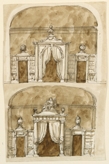 The alcove has the shape of a broad niche with a spherical ceiling above the entablature. A main entrance and two lateral secondary ones are suggested. Above: a variation of -1604 below. The arch is framed by moldings and by panels, framed outwards by moldings. On top is a keystone and a garland. The lateral parts of the wall are receding. On top is a bust, upon a pedestal. Spheres are in the places of vases. Below: the central entrance is framed by two columns supporting an entablature. Curtains, held up. On top is a pedestal with a putto, sitting, with a pair of scales upon his shoulders. Two spheres are at the corners. The left of the lateral parts corresponds generally to -1604 above, the right to -1604 below. Colored background.