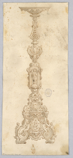 Design for a Candelabra. At center, a sculpture niche supported by three nudes. Below, a coat-of-arms, masks and swags, and ignudi. Dragon feet.