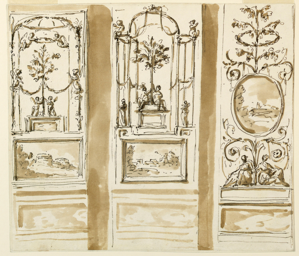 Drawing, Decorations of a wall panel