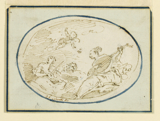 At left is a woman playing a viola, at right another with a lute. In between are visible the heads of two more persons. A flying putto strews flowers. Framing ink line.