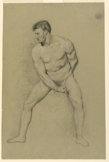A male nude is seen standing, frontally, with his head turned in left profile. His right hand clasps a cord pulled around before him and held by his left hand behind his back. His feet are positioned far apart.