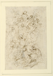 Assumption of the Virgin. At top, the figure of the Virgin Mary supported by a crowd of angels, clouds at either side. Verso: adoration of the Christ child.