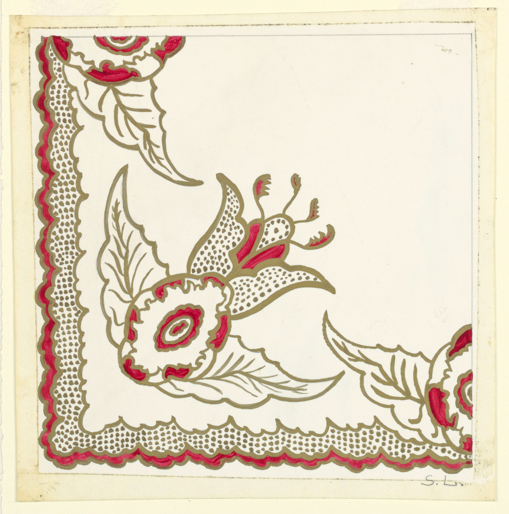 Corner of a textile design with red and gold in shape of flower with scalloped edges on border.