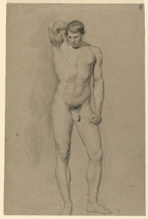 A young male nude is seen standing, frontally, with his head tilted downward, and his right hand behind his head. His left arm hangs by his side, and his left hand makes a fist.