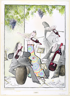 A quartet of musicians play amongst barrels, using wine bottles of various sizes in the manner of string instruments, with bows.