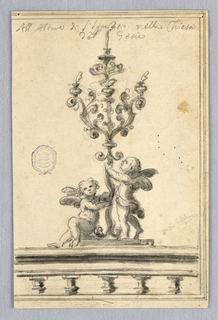 A balustrade with two putti, one seated, supporting a scrolling three-armed candelabra.