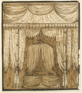 Elevation of a bed alcove showing a canopy bed richly hung with textile and lambrequins.