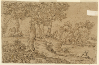 Trees are at left and in the right middle plane. A part of the pond is shown in front of the latter. A man kneels at its edge, another is shown from the back seated and raising his right hand toward a boat. A peasant's house is beyond the pond. Mountains are in the background.