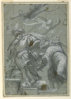 Several figures standing on an uneven surface, possibly a stairway, including an executioner at left wearing military garb with his hand on his hip. A hermit is addressing him, from the right. Additional sketchy figures (possibly angels) in the upper half of the composition above. The drawing is squared with black chalk for enlargement.