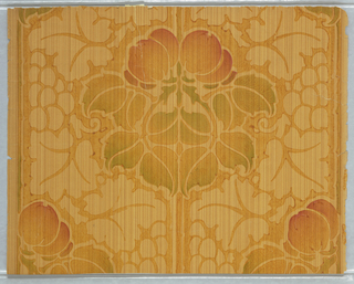 The leaves and fruit gradations and shadings of color on this paper were applied by hand brush. Dark green and red in medium green field which is striped. Printed in shades of yellow, orange and green on mustard yellow ground. The fruit and floral motif on stem forms a stripe running amidst a foliate diaper pattern.