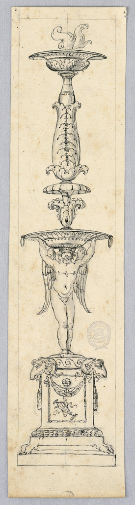 Candelabrum motif. Square plinth decorated with ram heads and swags. Above, an angel holds a aloft a wide-lipped plate. At top, a baluster form decorated with acanthus leaves. Smoke rising out of top.