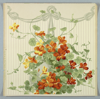 "a) On textured paper, white and shiny pink stripes. Over this, orange and yellow geraniums and green foliage in vertical banding at center of panel. b) Frieze for ""a"": geraniums in gray hanging pot, gray ribbon in swags along top border."