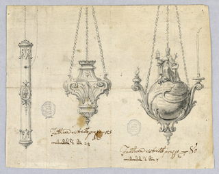 At left, long, thin objects with medallion at center; at right, a sphere with snake and ecclesiast.