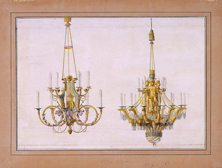 Design for two chandeliers.  Left, is a chandelier with a lyre as the shaft.  Branches of bottom row of candle shafts form French horns and top branches of candle shafts form flower boughs.  Right, is a chandelier with the shaft formed by four children standing on fantastic birds, which, in turn, stand on a sphere.  Sockets for candles are placed in the children's hands and on the heads of the birds.