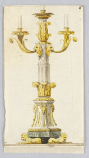 Vertical rectangle. Design for a candelabrum with three candles, the pedestal supported by crouching lions. Above it rises a part of the shaft of a fluted column from an acanthus calyx. A scalloped shaft is in the place of a capital. Two masks are fixed to it, each supporting with the mouth a branch of the candelabrum. Upon the shaft stands an acanthus calyx with another short piece of column. On top is a socket, with the lower part of a candle as they are on top of the branches. Below is a colored basis stripe. Framing line.