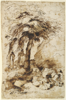 A group of trees is shown in the left middle plane. Three figures of women surround a satyr herm. A man drives a donkey in the right foreground. Sheep or goats are resting on a road. Two workmen are shown, one of whom is bending over. Mountainous country.