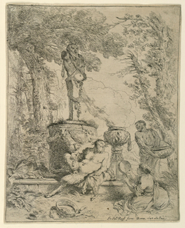 Figural scene in a garden or forest clearing. At center, the Greek God Pan reclines at the base of a monument topped with a statue, a flute in his right hand, his hindquarters and legs in the form of a goat, like a satyr. In the foreground, a tambourine and an empty wine vessel. A seated woman at right raises another tambourine or drum. A male figure at right holds a large bowl. Behind him, a smoking urn on a pedestal.