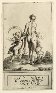 Venus is shown from the rear holding the arms of Cupid.