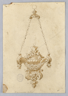 A candelabra hangs form two chains, connecting to two scrolling volutes decorated with floral swags. At base, a cherub. A single flame burns at center.