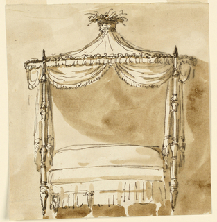 Drawing, Canopy bed