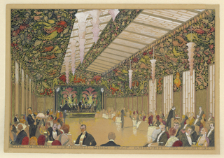 The sheet depicts a large hall with a double skylight. The ceiling and upper parts of the walls are heavily decorated with floral motifs. The center of the hall is left open while its edges are occupied by tables and seated figures.  A stage with playing musicians is situated against the back wall.