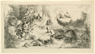 Print, Virgin and Child with God the Father and Angels