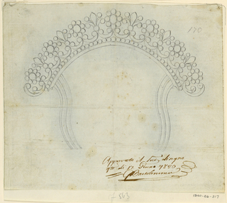 Drawing, Design for a comb, ca. 1820