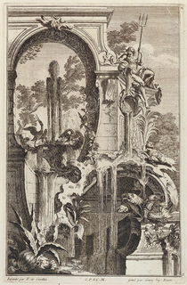 Fountain with flowing water; Neptune with trident sitting on arch above fountain, pouring water from a vase. Birds on the fountain before a landscape of mountains and trees.