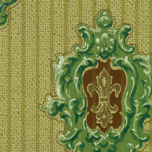 Shield-like configurations of green scroll-work around brown centers, in each of which is a metallic gold fleur-de-lis. Pale chartreuse ground with narrow vertical stripings in green; fill of olive speckling.