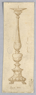 Elevation of a candlestick. The base has paw feet and is decorated with festoons. The baluster is fluted.