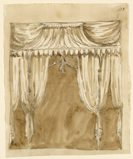 Drawing, Bed alcove