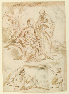 The Holy Family, with the Christ Child and St. John, are grouped near a tree (composition indicated as circular). Below, a reclining male nude and child. Verso: studies of twelve heads of mother and child, and a bearded man.