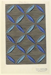 Drawing, Textile Design: Light and Dark Blue Ribbon on Brown Ground
