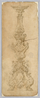 Design for a Candelabra. Scrolling body supported with putti and ignudi. Scrolling acanthus base with paw foot and crowned shield.