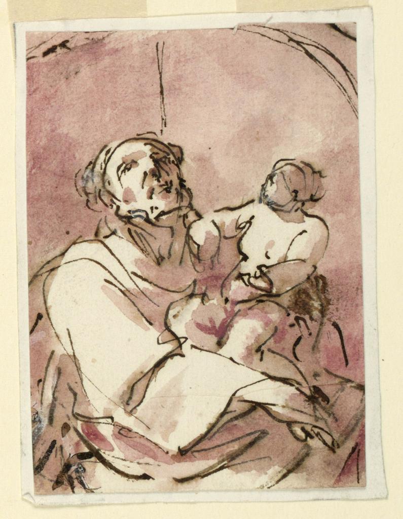 Half figure of bearded man holding a child, both looking heavenward.