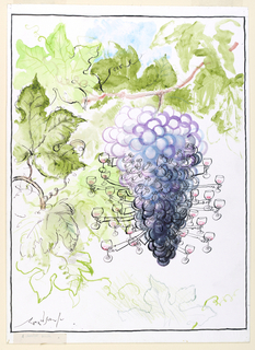 At center, a large bunch of purple grapes hangs from a leafy bough.  Some of the individual grapes have eyes and noses and oustretched arms holding glasses of red wine.