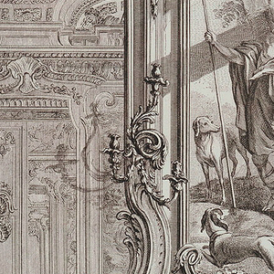 """Large-scale drawing of fireplace with andirons in foreground and cartouche decoration at rear of opening. The overmantel consists of a large rococo mirror which reflects the other side of the room. Three-branched wall lights are attached to either side of the mirror. At top of mirror, near ceiling, are two putti playing with garland flowers. Enclosed in a paneled frame (left) is a partial view of a painting, """"Zephyr et Flore,"""" showing putti, flowers, and the legs of a goddess. A putto, holding a flamed torch, is at top of painting. In the paneled frame (right) is a partial view of a man holding a spear in his right hand with two dogs nearby."""