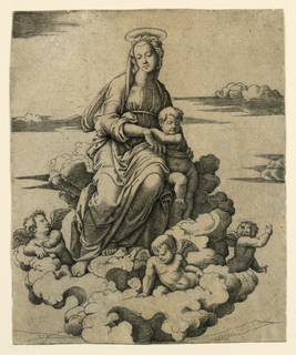In mid-distance, the Virgin seated upon a cloud with the child standing at right. Four small angels around the Virgin upon the cloud.