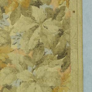 Neutral foliage design. Medium-scale assymetrical leaf design in soft neutral shades.