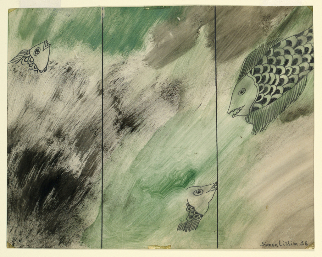 Image of three partial fish in a sea of green and black.