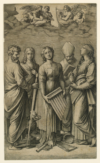 Five standing figures. St. Cecilia, center, is surrounded by St. Madeleine at right, St. Paul, left, behind her, St. Augustin and St. John. Musical angels on clouds above the figures.