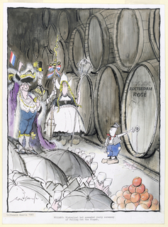 "Figural scene in a wine cave. At upper left, a group of figures in royal and traditional Dutch milkmaid costume. At lower left, a group of figures holding black umbrellas above their heads, raising empty wine glasses towards the wall of barrels visible at right. At center right, a small boy stands with his finger plugging a hole in a barrel of wine labeled ""XXX / ROTTERDAM / ROSE"". At lower left, a pile of red-orange balls."