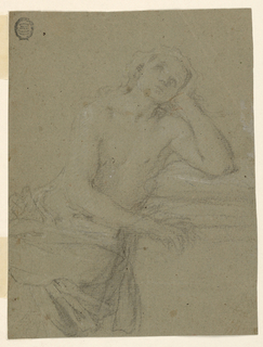 Recto: (a) Three quarter figure.  Shown from front with naked upper part of body.  She is sitting beside something, upon which she leans her arm that supports her hear.  Verso: (b) the Virgin kneeling in clouds, shown from the front; above at right the outlines of a flying angel.