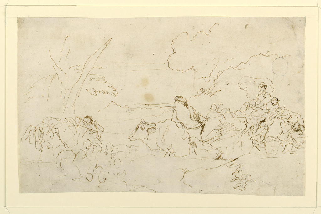Drawing, Study for the Painting Pastoral Journey, Figures and Cattle in a Landscape