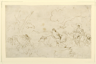 Horizontal drawing of a figure at center driving a cow to the left, where there are other figures and a pack mule.  At the right, a group of figures.  Trees and hilly landscape in background.